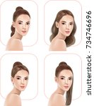 beautiful women with hairstyles ... | Shutterstock .eps vector #734746696