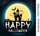 happy halloween party banner or ...   Shutterstock .eps vector #734747062