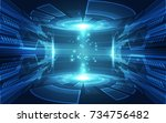 abstract vector blue technology ... | Shutterstock .eps vector #734756482