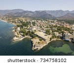 aerial view of the village of... | Shutterstock . vector #734758102
