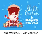 merry christmas and happy new... | Shutterstock .eps vector #734758402