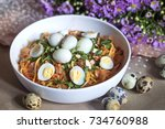 mixed rice paper salad  ... | Shutterstock . vector #734760988