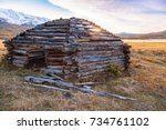 traditional altai building... | Shutterstock . vector #734761102
