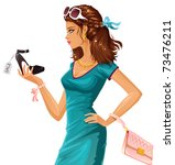 shoe shopping | Shutterstock .eps vector #73476211
