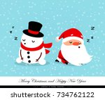 santa claus and snowman sleep....