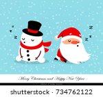santa claus and snowman sleep.... | Shutterstock .eps vector #734762122