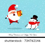 santa claus and snowman.... | Shutterstock .eps vector #734762146