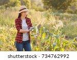 portrait of happy young woman...   Shutterstock . vector #734762992