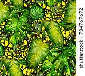 watercolor seamless pattern... | Shutterstock . vector #734767672