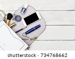 handbag and female accessories... | Shutterstock . vector #734768662