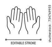 muslim praying hands linear...   Shutterstock .eps vector #734769955