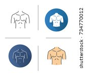 muscular male chest icon. flat... | Shutterstock .eps vector #734770012