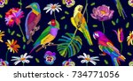 colorful birds in the tropical... | Shutterstock .eps vector #734771056