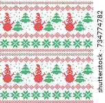 christmas knitted pattern | Shutterstock .eps vector #734774782