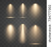 set vector golden spotlights.... | Shutterstock .eps vector #734777302