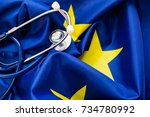 stethoscope with european union ...   Shutterstock . vector #734780992