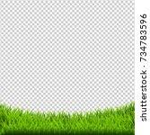 green grass border isolated ... | Shutterstock . vector #734783596