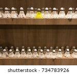 yellow shuttlecock standing out ...   Shutterstock . vector #734783926