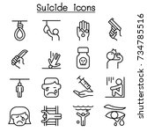 suicide icon set in thin line... | Shutterstock .eps vector #734785516