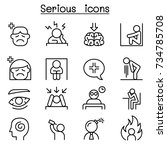 serious icon set in thin line... | Shutterstock .eps vector #734785708