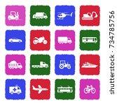 transportation icons. grunge... | Shutterstock .eps vector #734785756