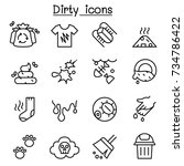 dirty icon set in thin line... | Shutterstock .eps vector #734786422