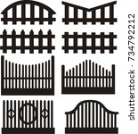 design vector of house fence | Shutterstock .eps vector #734792212