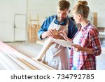 portrait of two carpenters  man ... | Shutterstock . vector #734792785
