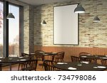 modern restaurant interior with ... | Shutterstock . vector #734798086