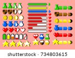 big set of 8 bit elements  life ... | Shutterstock .eps vector #734803615