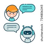 cute smiling chat bot is...   Shutterstock .eps vector #734806345