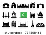 Pakistan Travel Landmarks icon set. Vector and Illustration | Shutterstock vector #734808466