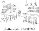 Cafe bar graphic black white interior sketch illustration vector | Shutterstock vector #734808946