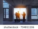 real estate concept with agent... | Shutterstock . vector #734811106