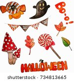 illustration of a halloween... | Shutterstock .eps vector #734813665