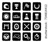 racing icons. grunge black flat ... | Shutterstock .eps vector #734814412