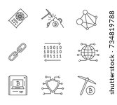 cryptocurrency linear icons set.... | Shutterstock .eps vector #734819788