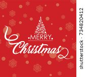 merry christmas vector text... | Shutterstock .eps vector #734820412