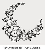 floral frame on a watercolor... | Shutterstock .eps vector #734820556