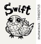 bird swift. print  cards ...   Shutterstock .eps vector #734820715