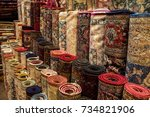 handmade turkish carpets in a... | Shutterstock . vector #734821906