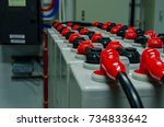 the top of pole gel battery is... | Shutterstock . vector #734833642
