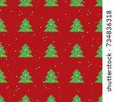 seamless pattern of pixel art... | Shutterstock .eps vector #734836318