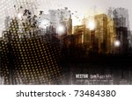 grunge city panorama. | Shutterstock .eps vector #73484380