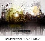 grunge city panorama. | Shutterstock .eps vector #73484389
