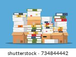 pile of paper documents and... | Shutterstock .eps vector #734844442