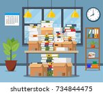 pile of paper documents and... | Shutterstock .eps vector #734844475