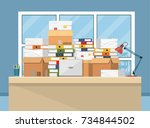pile of paper documents and... | Shutterstock .eps vector #734844502