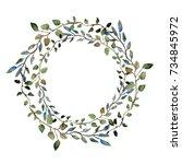 elegant watercolor floral...   Shutterstock . vector #734845972