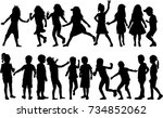 vector silhouette of children... | Shutterstock .eps vector #734852062